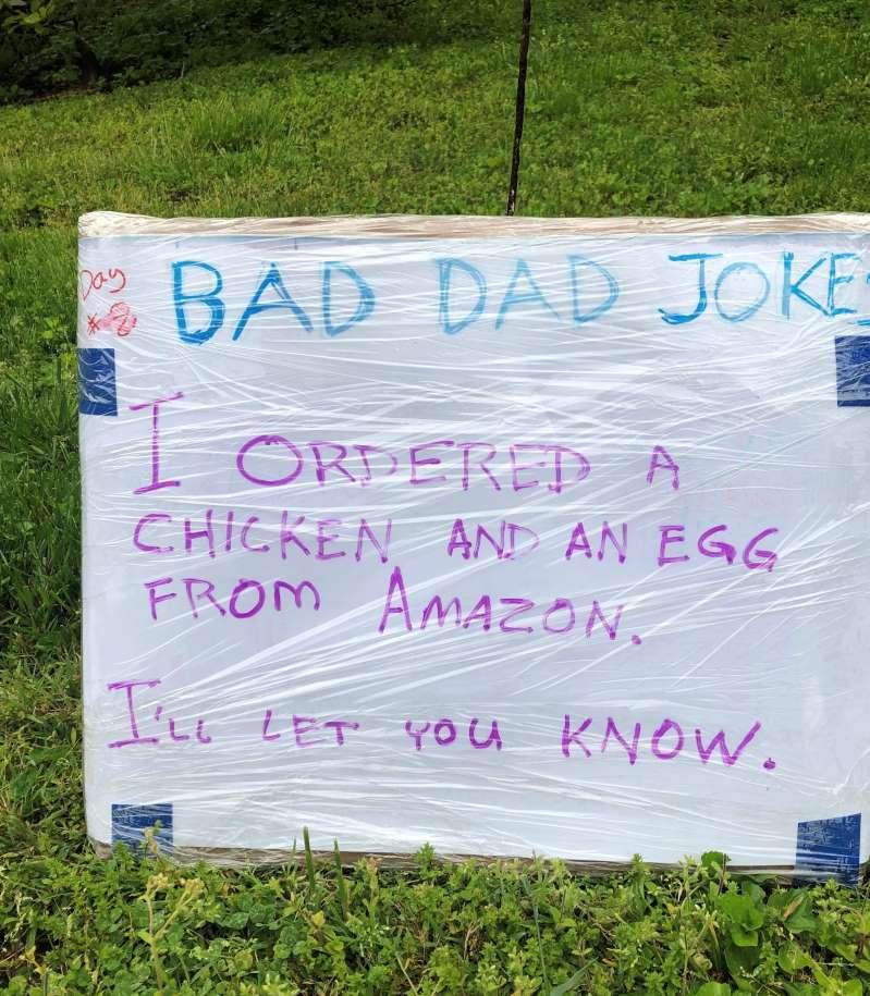 "a close up of some grass: Tom Schruben's ""bad dad joke"" on day eight. (Family photo)"